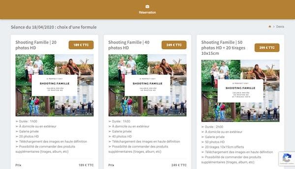 réservez facilement votre séance photo en ligne - choix de la formule