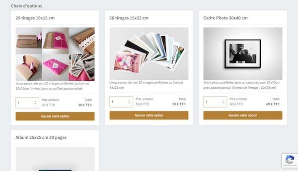 réservez facilement votre séance photo en ligne - ajout des options