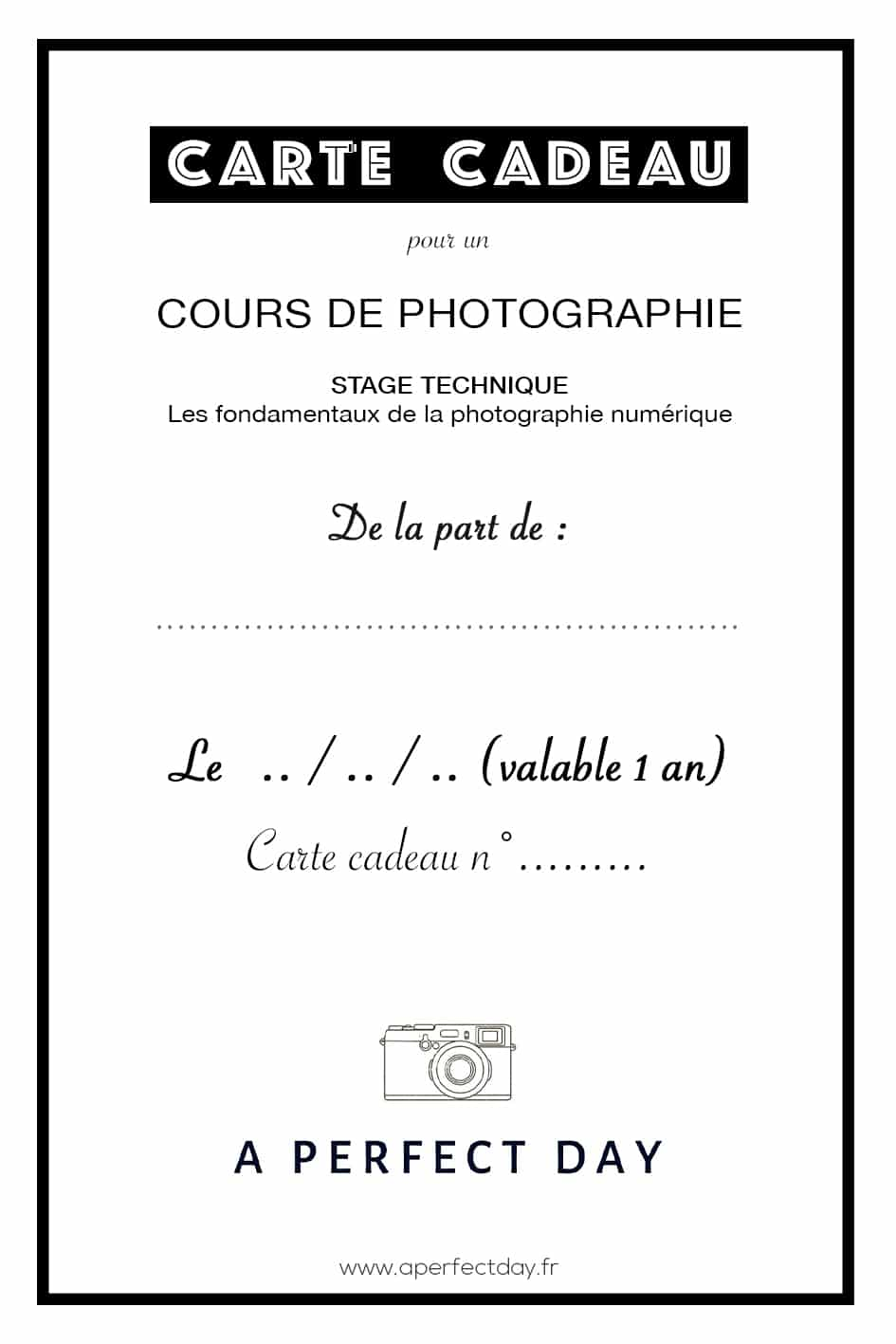carte cadeau pour un cours de photographie | Atelier technique : les bases de la photographie numérique