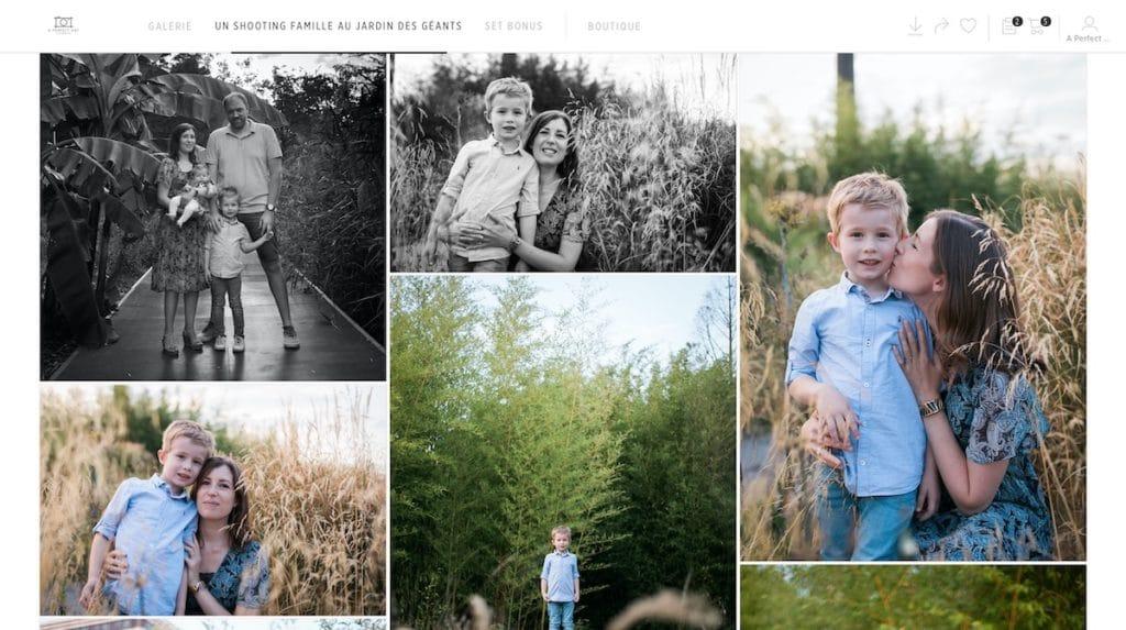 la livraison de vos photos de famille sur une galerie privée