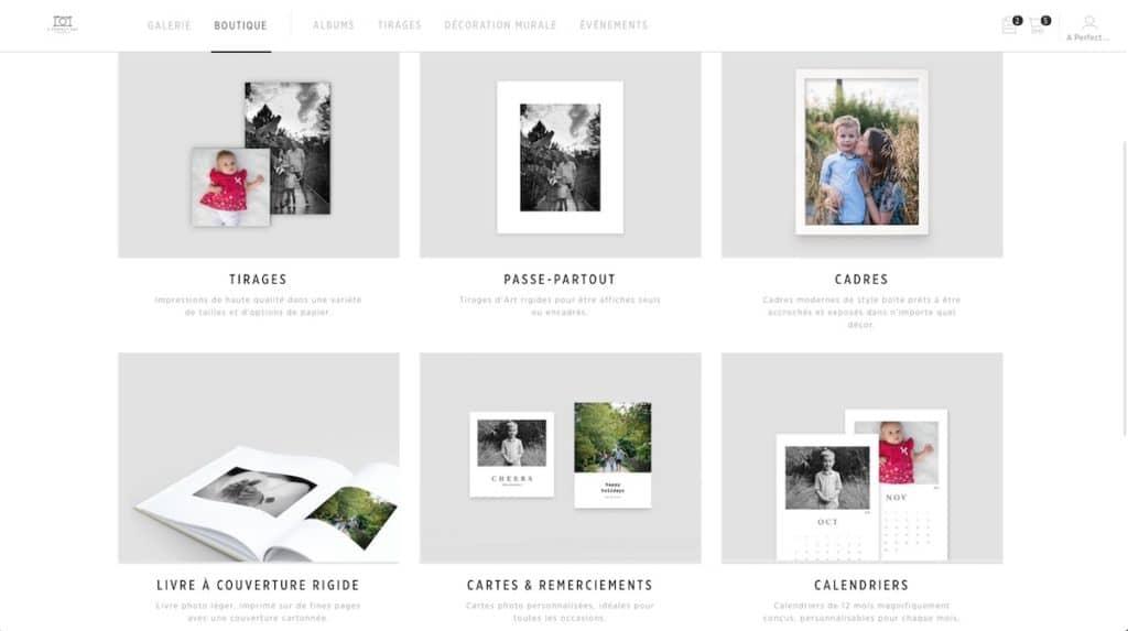 une sélection de produits pour imprimer vos plus belles photos