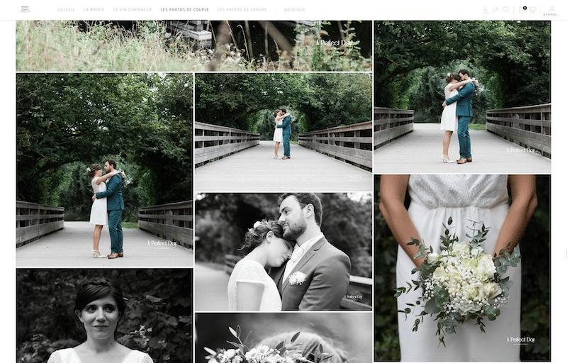exemple d'un reportage photo de mariage présenté sur une galerie photo privée